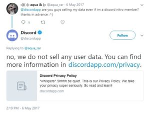 Discord states it does not sell user information.